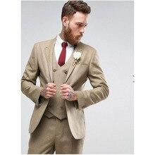 2019 Champagne Slim Fit costumes de mariage pour hommes Satge vêtements Double boutonnage gilet sur mesure Terno marié Tuxedos 3 pièces costumes