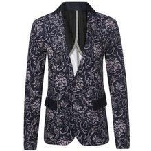 Men Printed Blazers 2016 Fashion Brand Floral Pattern Slim Fit Long Sleeve Blazer Spring Autumn Casu