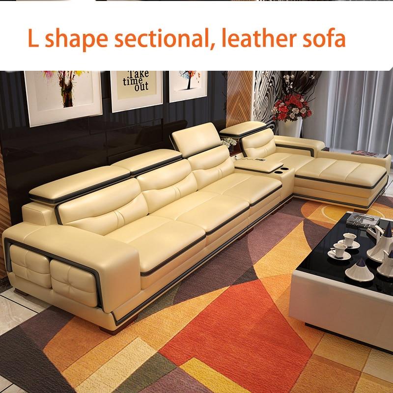 أريكة صالة من الجلد الطبيعي مع تخزين زاوية ، لغرفة المعيشة ، أريكة على شكل حرف L