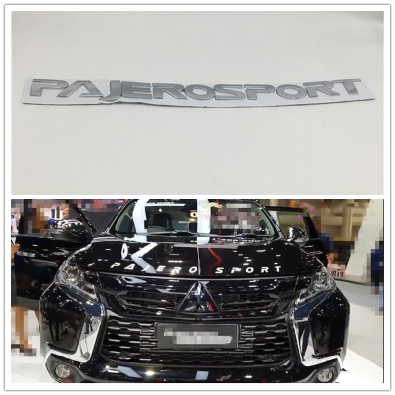 Cromo prata para mitsubishi pajero esporte frente capa emblemas logo script emblema carta auto adesivos