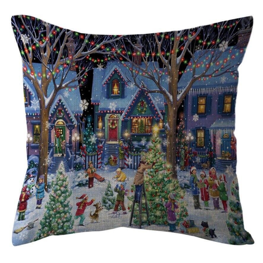 Nova capa de almofada dos desenhos animados 45x45cm 1 pc natal escritório sofá almofada quadrada lance casa decoração fronha 30