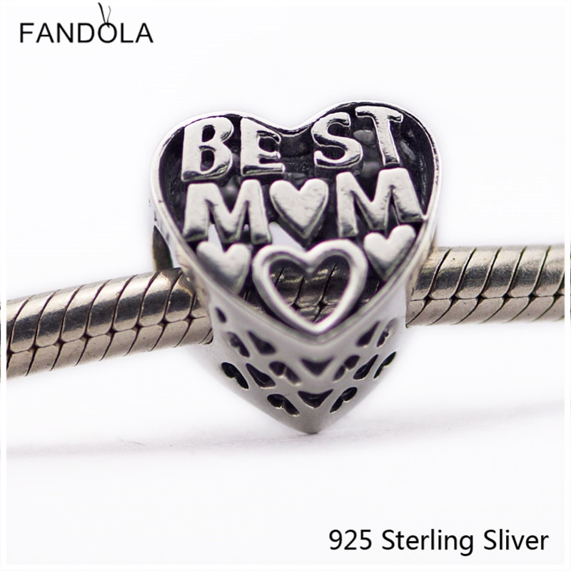 Oryginalny 925 Sterling Silver najlepszy mama serce urok pasuje Pandora bransoletki Charms koraliki cuore mama kobieta dzień matki