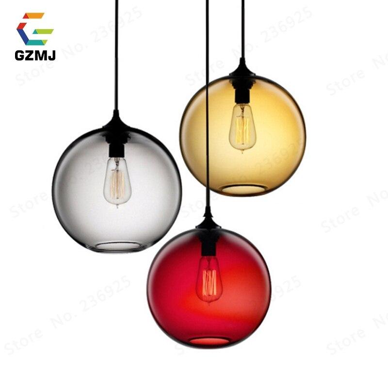 Lámparas colgantes industriales clásicas GZMJ, lámpara colgante de Metal para techo, de 6 colores bola de cristal, lámpara colgante para cocina, lámparas para restaurante