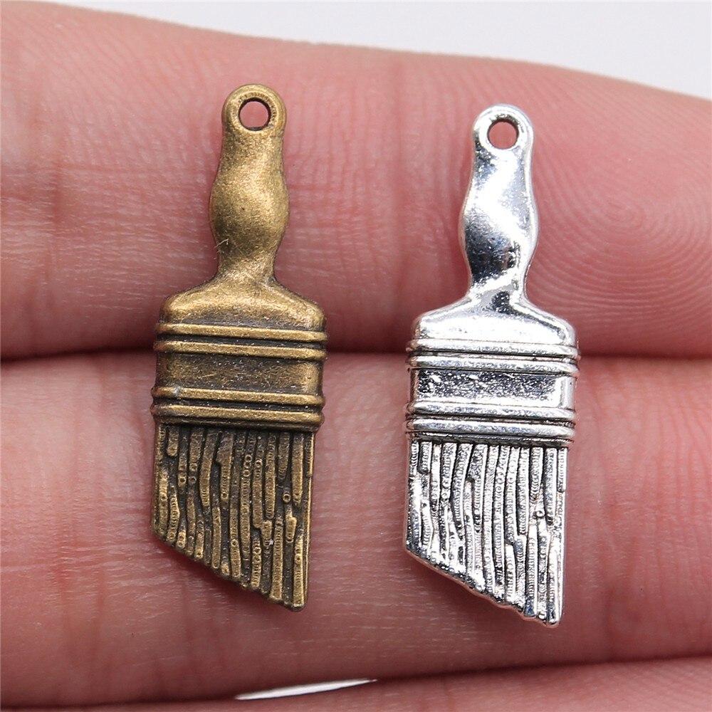 Colgante de 27x9mm, 15 piezas, colgante, pincel, colgantes para hacer joyas, colgantes de pincel de Color plata antiguo