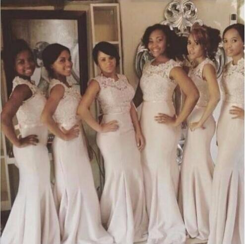 2016 modest Sexy Lace para dama de honor largo hasta el piso vestidos niñas satén sirena Sash fiesta Formal vestido dama de honor adulto
