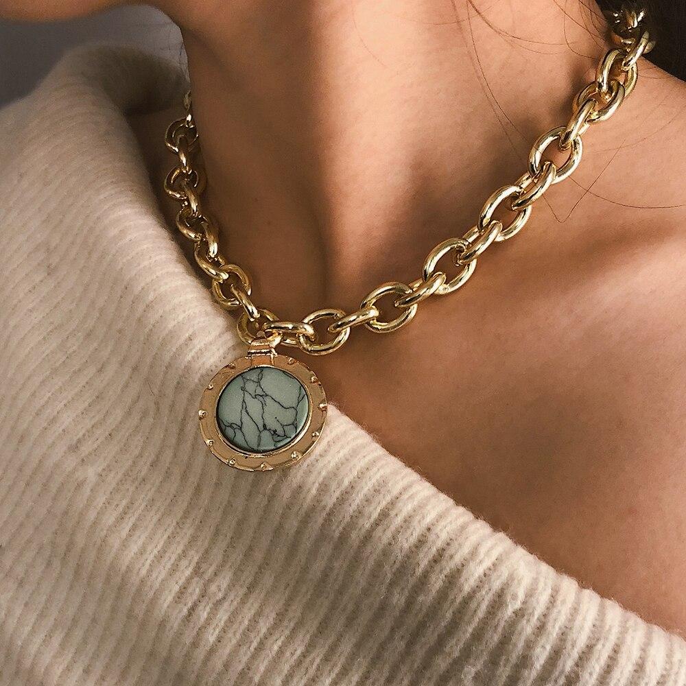 Exageración punk gargantilla Collar para mujer gran cadena gruesa hueco redondo multicapa moneda colgante collar largo joyas