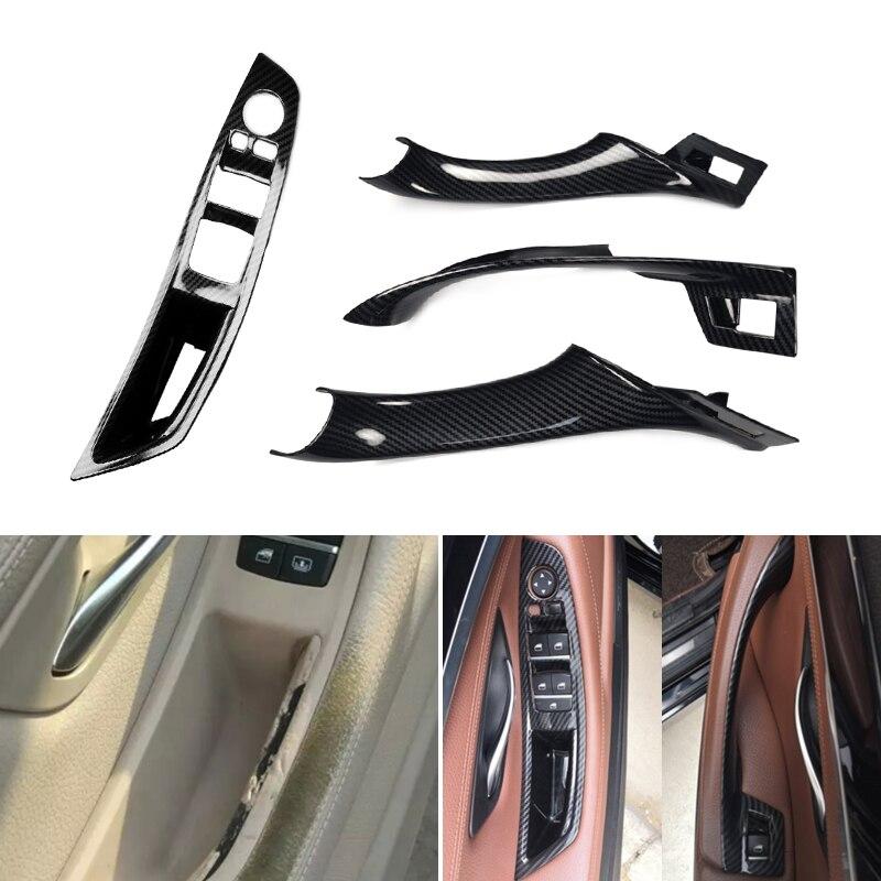 Car Interior Carbon Fiber Texture Door Pull Handle Protective Cover Trim For BMW 5 Series F10 F18 2011 - 2014 2015 2016 2017