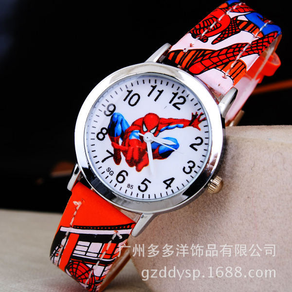 Reloj de pulsera de Hombre Araña de dibujos animados para niños, reloj de pulsera para niños, regalo para niños de cuero de reloj de pulsera, reloj de cuarzo de dibujos animados, relojes de cuarzo