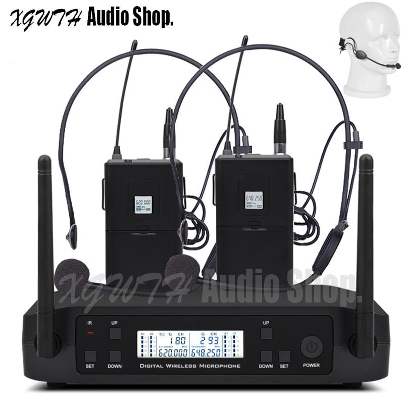 Micrófono inalámbrico UHF, GLXD4 Bodypack con sistema de micrófono, auricular con solapa sin cable, micrófono de mano Frecuencia ajustable para Karaoke DJ