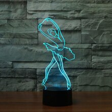 Ballet meisje kleurrijke Vision Stereo LED 3D Nachtlampje USB 3D lamp licht gradiënt acryl lamp afstandsbediening nachtlampje
