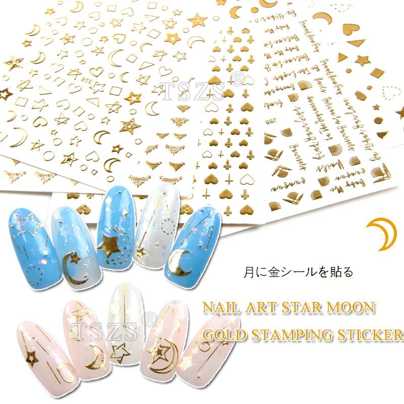 1 hoja/lote de pegatinas 3D ultrafinas para uñas, pegatina de transferencia de imagen de estrella y Luna, arte adhesivo para uña dorado, decoraciones