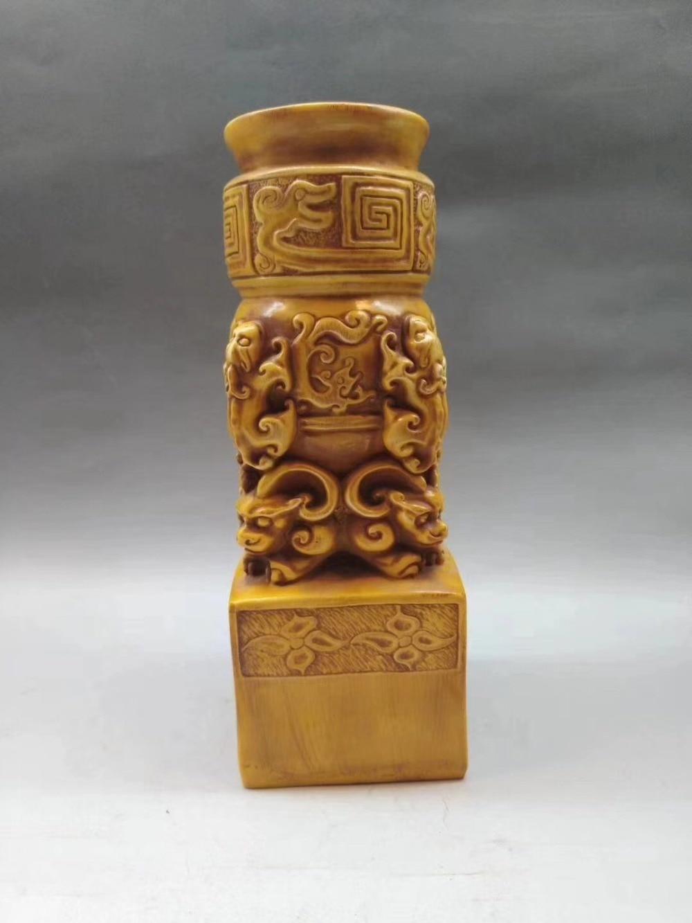 Capítulo de Longzhu tallado a mano decoración del hogar colección imitación de hueso