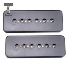 Tooyful 2 قطعة الأسود الغيتار بيك اب سبيكة بكرة غطاء 50/52 مللي متر حفرة تباعد ل p90 الغيتار بيك اب