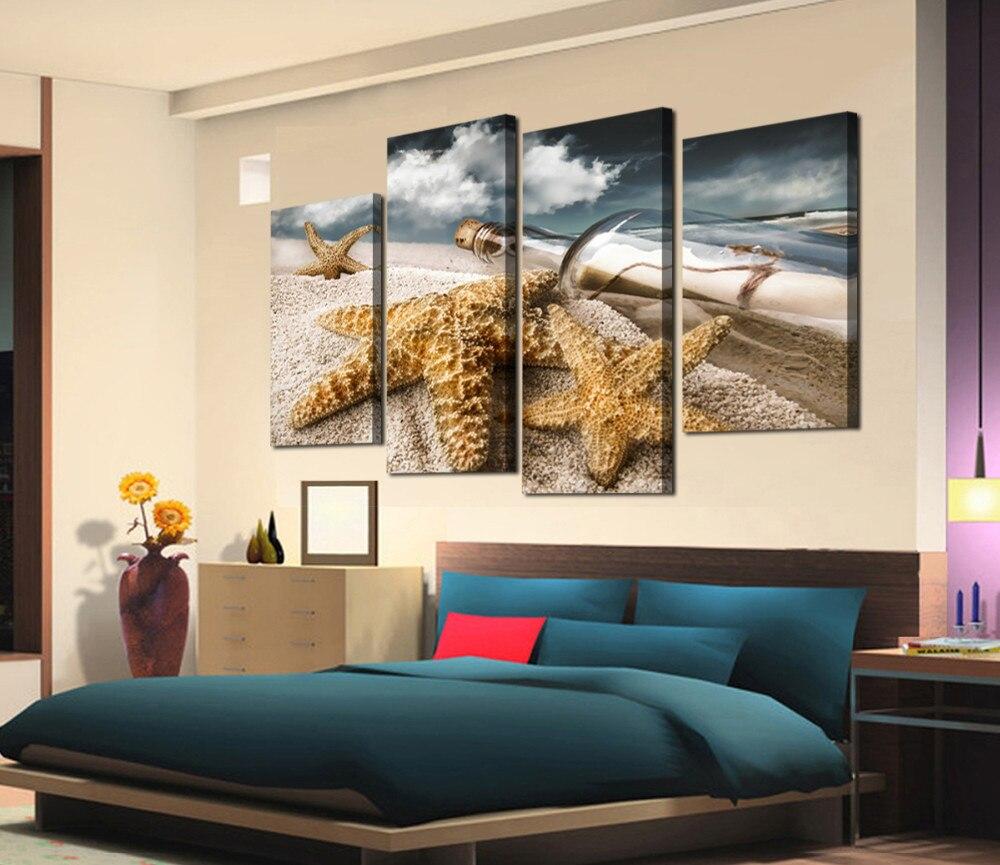 Hermoso Paisaje Marino de botellas de deriva y muro estelar del Mar Amarillo pintura impresiones en lienzo para decoración del hogar envío gratis