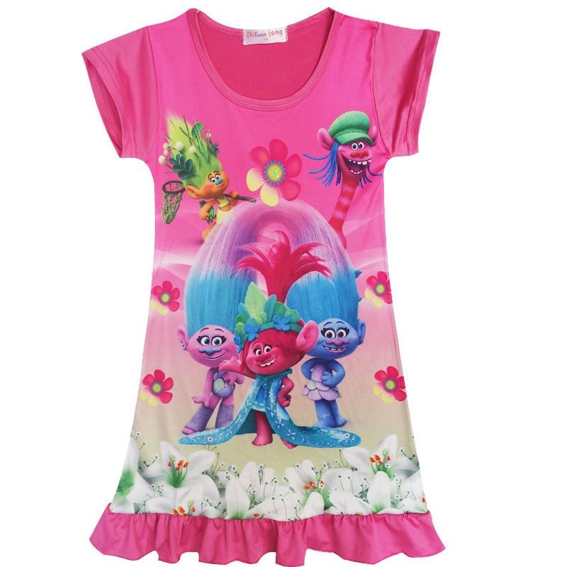 2018 Summer Princess Moana sleepwear dress Cosplay Costume Children Vaiana baby girl Trolls dress nightdres for Kids Girls Gift