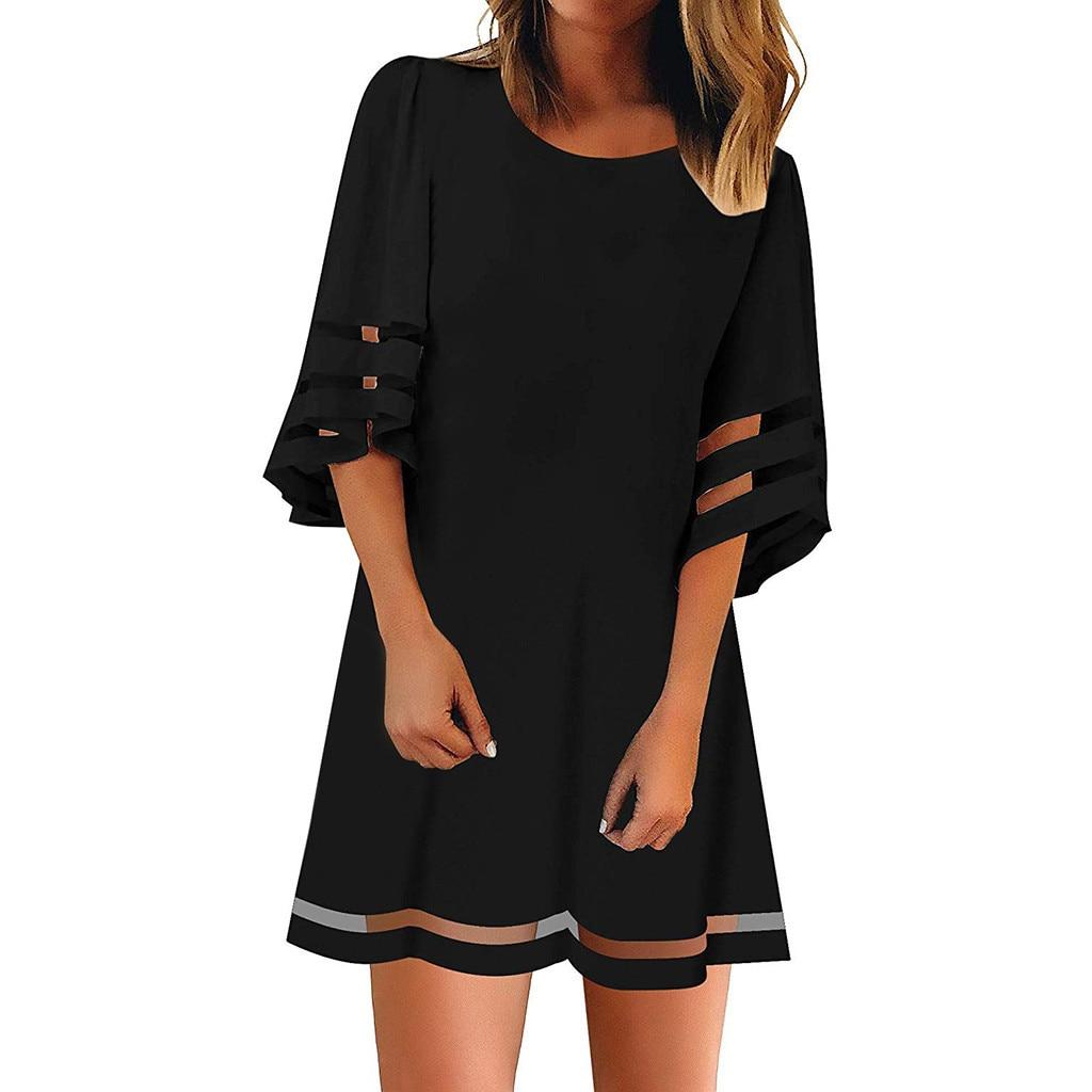 Mesh Panel Blouse 3/4 Bell Sleeve dresses O Neck large size  Loose summer dresses Top Shirt Dress vestido elbise robe sukienka