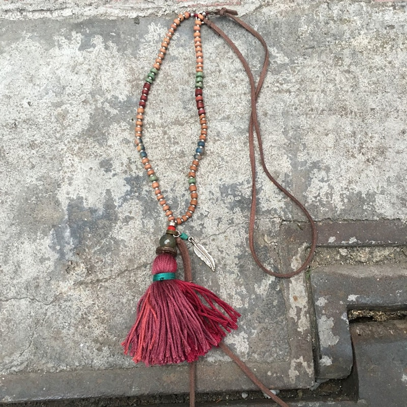 Joyas dongmu estilo bohemio moda borla colgante perla collar largo señora boutique joyería Año Nuevo mejor regalo