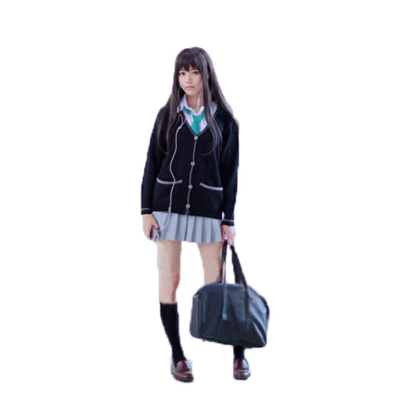 Anime Rin Shibuya przebranie na karnawał kobiety japonia Preppy mundurek szkolny JK dziewczyny koszula + sweter + spódnica + krawat + skarpetki