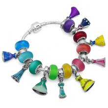 Bijoux colorido princesa vestido pulseira & bangles para a mulher europeu diy grânulo de vidro pan charme pulseiras jóias femininas