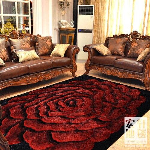 Alfombra de sala de estar 3d de calidad moderna alfombra alambre engrosamiento Flor de cifrado personalizar