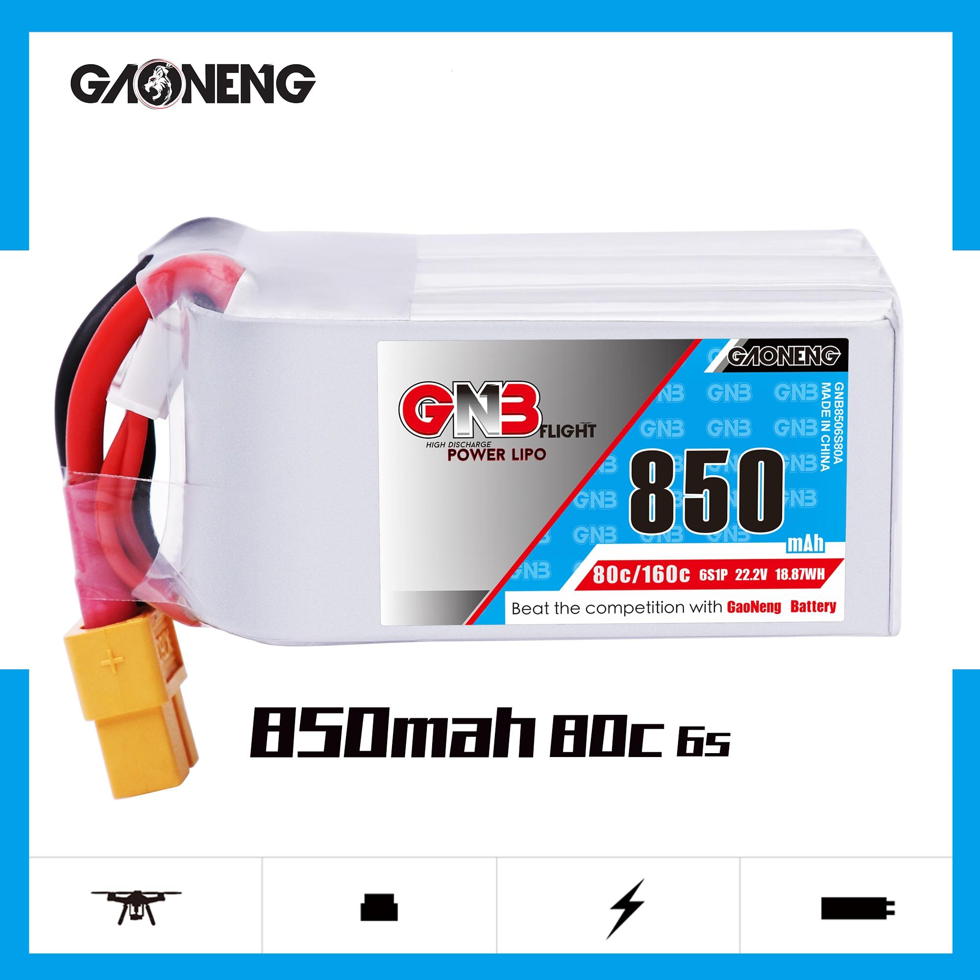 Gaoneng GNB 850mAh 22.2V 6S 80C/160C Lipo battery XT30 or XT60 Plug for FPV Racing Drone RC Models Multicopter Frame parts