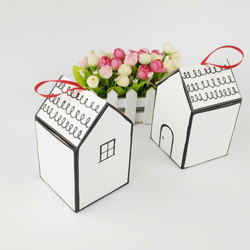 Caja de regalo con forma de Casa Blanca de 20 unids/lote, caja de caramelos con cinta roja, caja de bombones de cartón para boda
