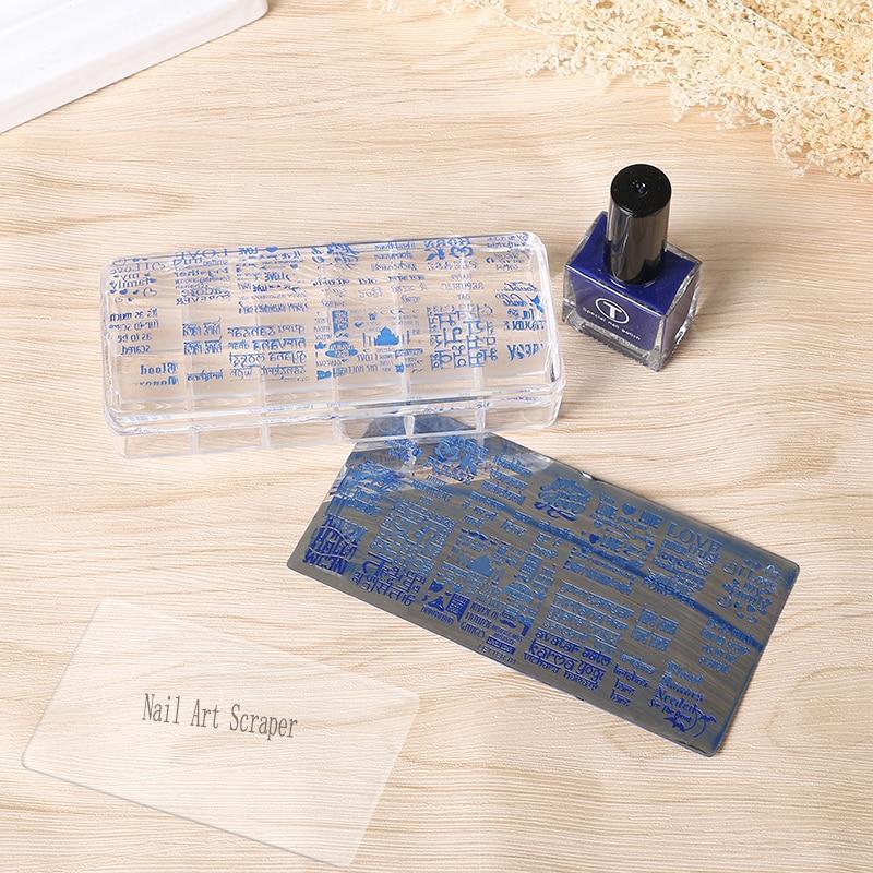1 Набор, 12*5 см гигантская прозрачная стемпер, прямоугольная силиконовая стемпер для дизайна ногтей и 1 скребок