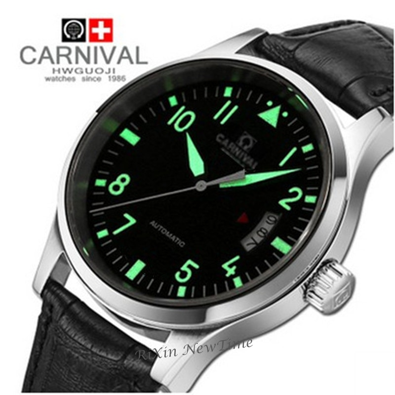 Reloj de marca superior de lujo para hombre, relojes mecánicos automáticos luminosos, relojes de hombre de cuero resistente al agua uhr montre relogio homens saati
