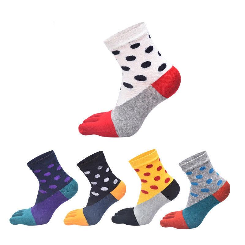1PCS Happy Socks Fashion Womens Cotton Five Finger Toe Socks British style Business Casual Cute Socks Multi-Color Hosiery
