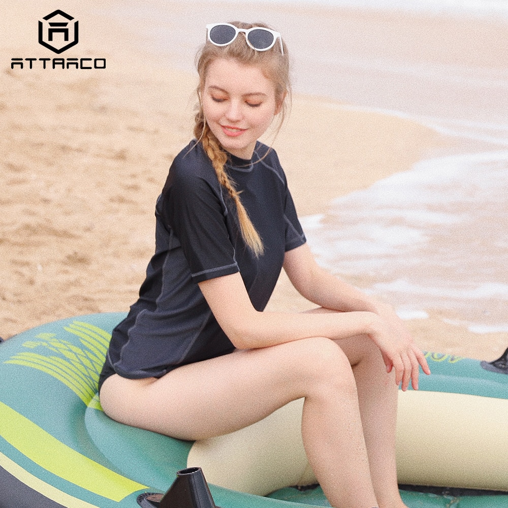 Attro rashguard banho de manga curta feminino colorblock maiô surf topo correndo camisas ciclismo rash guard upf 50 +