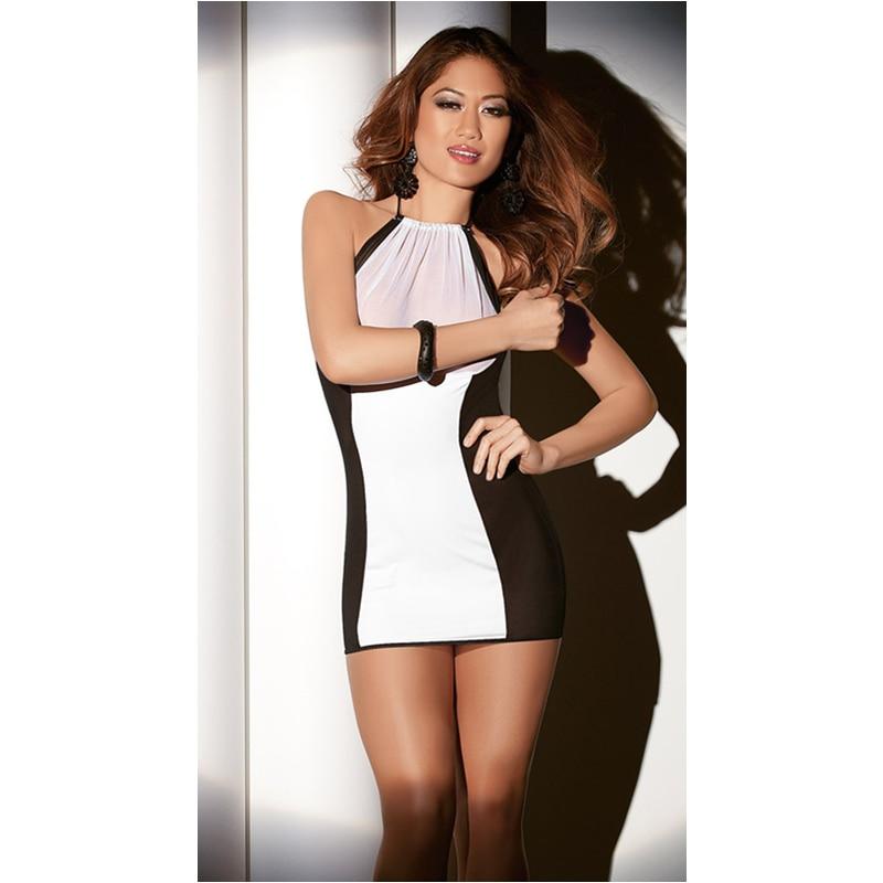 2018 Womens Sexy Lingerie Babydoll Pijamas Roupa Bodycon Magro Vestido Branco PRETO Conjunto Bodydoll Lingerie Mini Vestido Vestido de Verão