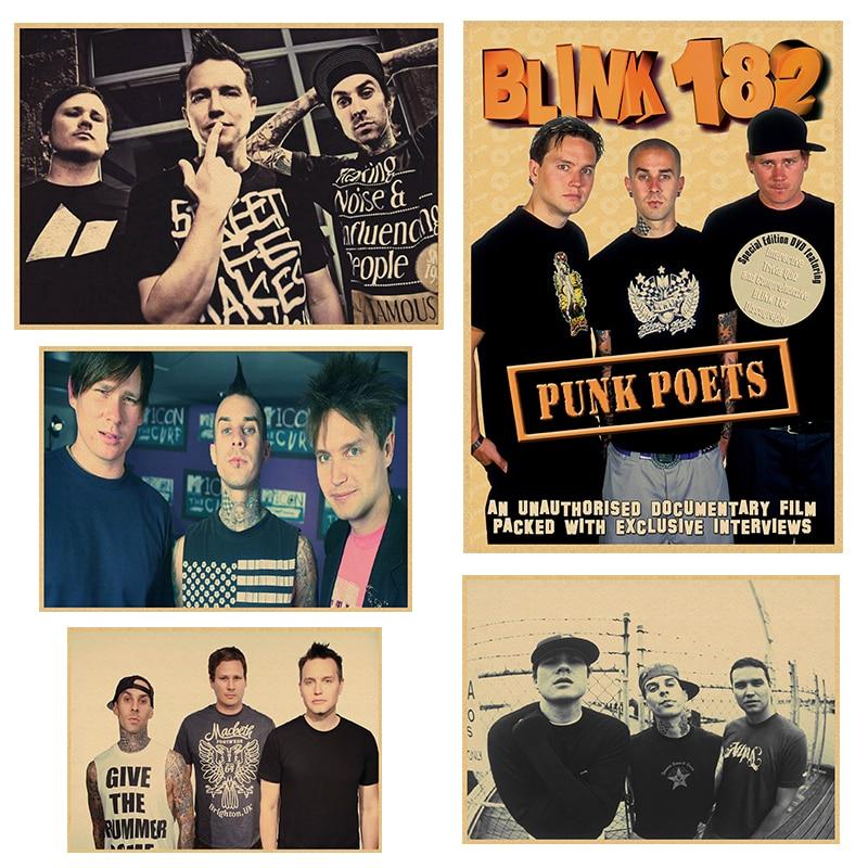 Blink-182, banda de música rock Retro Vintage, guitarra mate, papel Kraft, póster antiguo, pegatina de pared, decoración para el hogar