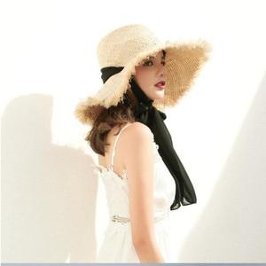100% Real Raffia summer caps Sun Hats For Women Beach Caps Sombreros Wide Brim Beach Side Cap Floppy Female Raffia Straw Hat