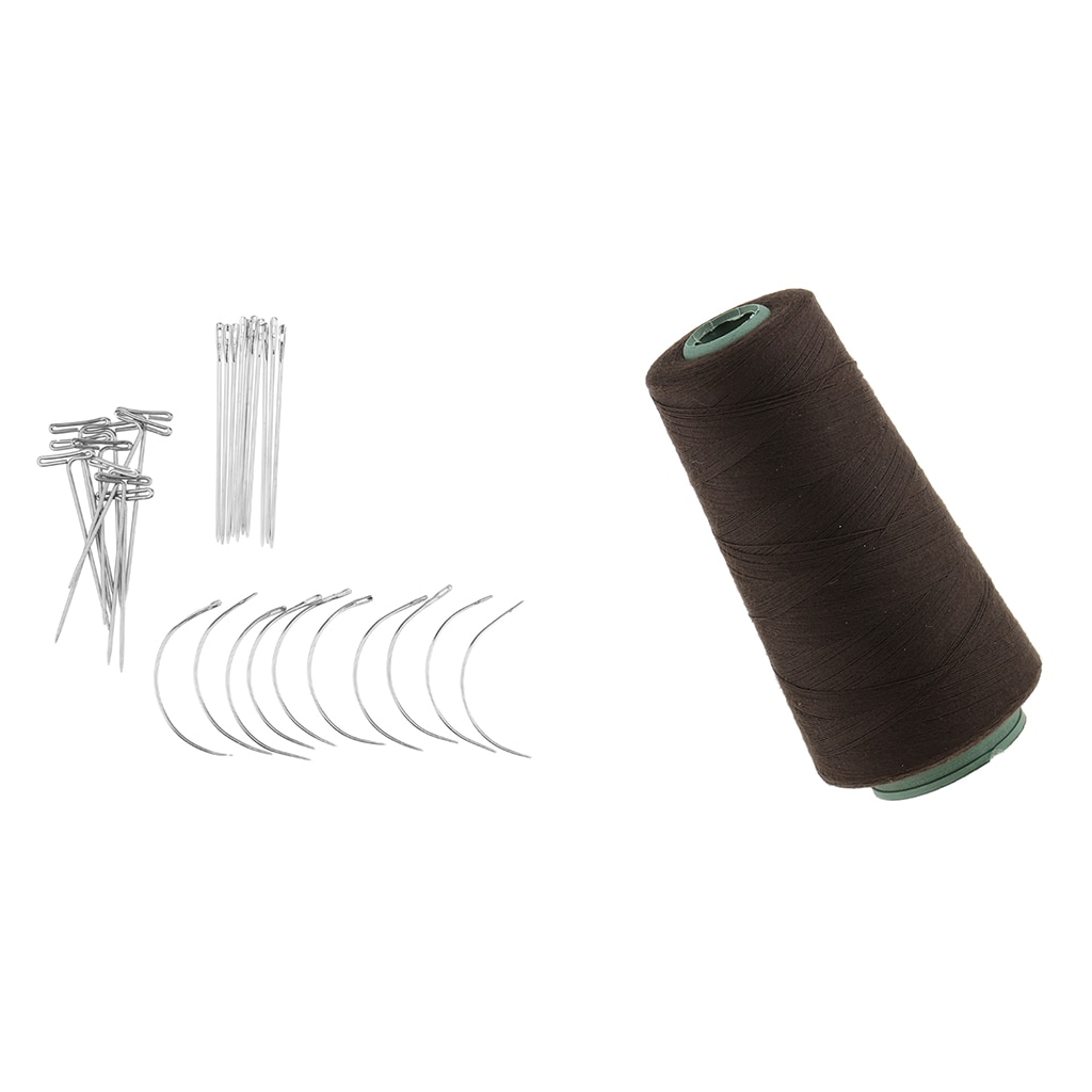 30 Pieces C+J+I Shaped Wig Needles Pins Dark Brown Thread for Wig Making Hair Extension Handcraft Sewing Weaving enlarge