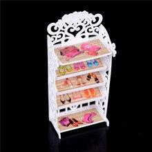 1 pièces de mode Mini poupée blanche armoire à chaussures pour Barbies poupée salon meubles de maison accessoires filles meilleurs cadeaux danniversaire