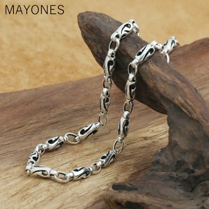 5mm width 925 sterling silver men's long thick cross link chain necklace retro fashion thai silver jewelry free shipping