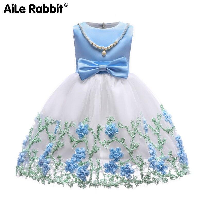 Para la primavera de la frontera, verano, vestido de las muchachas del bordado del hilado neto en el nuevo vestido sin mangas del niño perla del vestido del niño