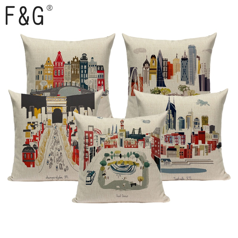 High quality Square Linen decorative Cushion covers London Architecture one side print pillow case Custom Throw pillows