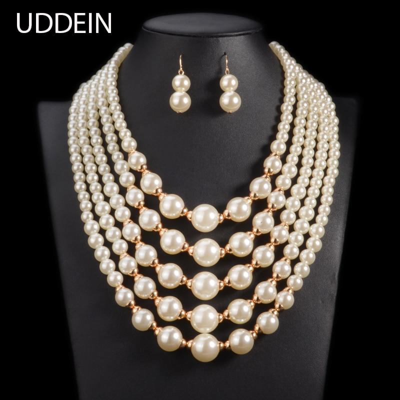 UDDEIN simulado pérola Beads Africanos Set Jóias 2017 declaração de moda colar gargantilha para as mulheres de casamento Online Grátis India
