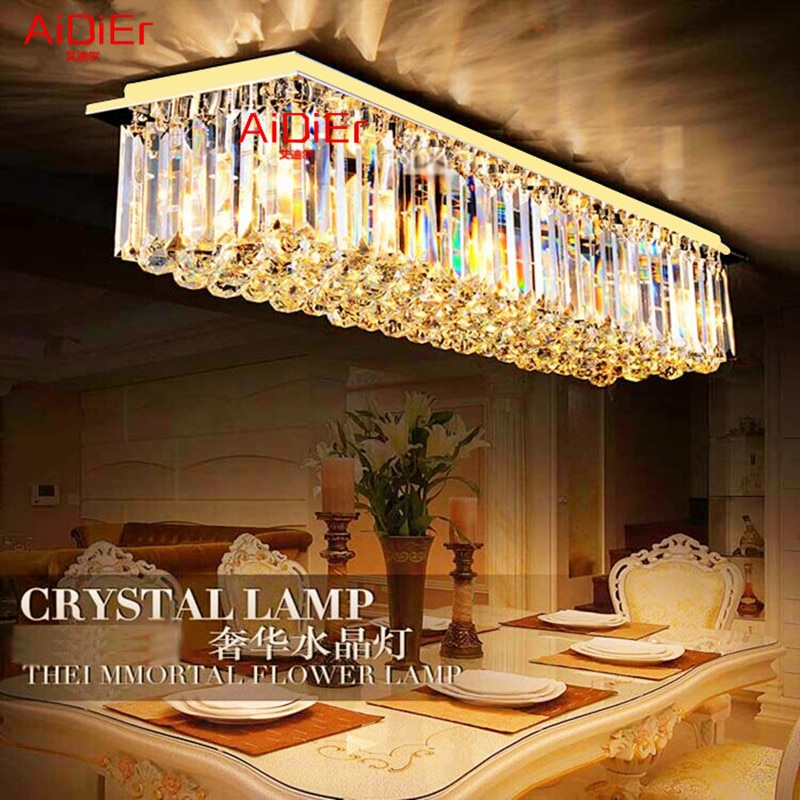 Rectangular modern luxury living room Ceiling lamp restaurant lights golden K9 crystal Ceiling Lights  - buy with discount