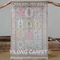 yilong 3x4 5 antique persian silk pink garden carpet hand knotted four season oriental rug 0565