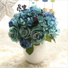 YO CHO-Bouquet de roses en soie bleu   Odin, décoration de Mariage, fleurs artificielles, accessoires diy pour fête maison, fausse feuille de Mariage