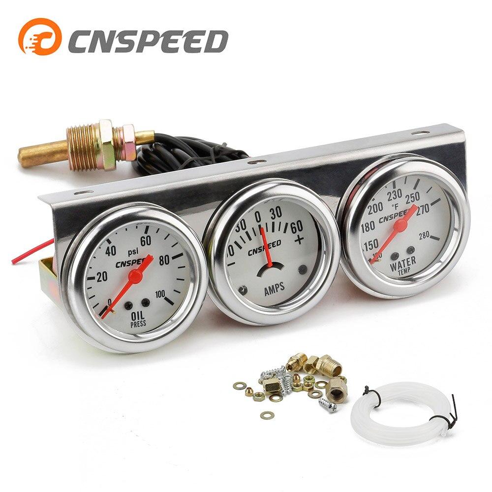 CNSPEED 2 дюйма Хромовая панель Датчик давления масла измеритель температуры воды измерительный усилитель тройной датчик набор Белый лицевой ...