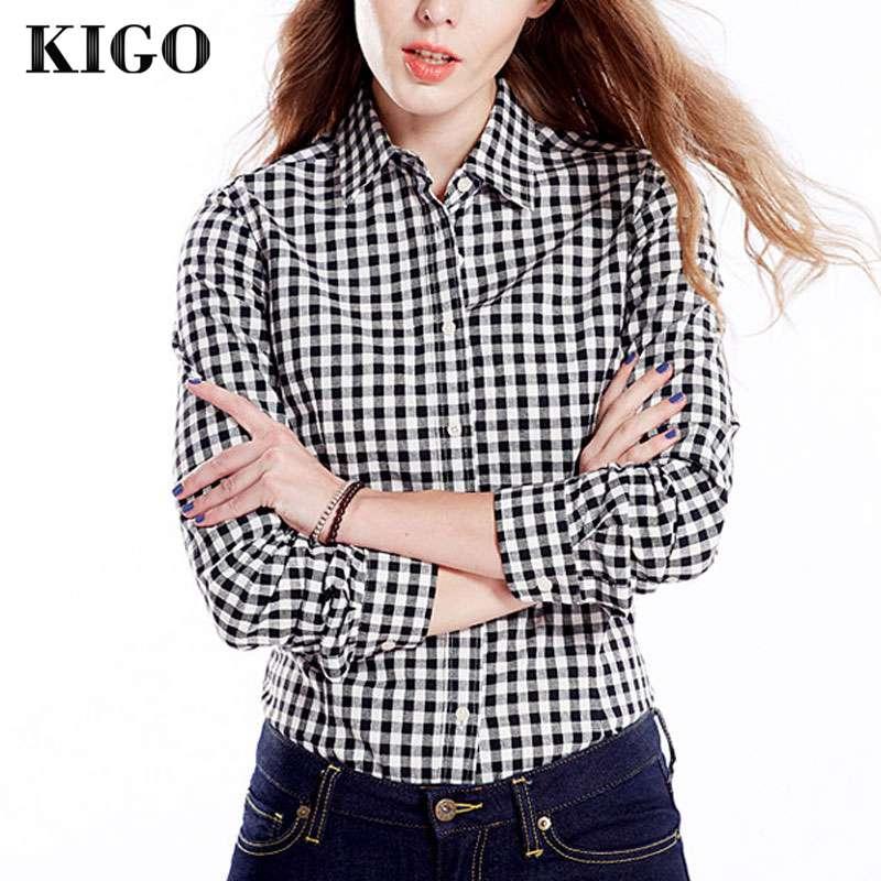 KIGO 2016 Mujer camisa Casual Blusas de manga larga de franela a cuadros blanco y negro camisa Blusas Mujer Tops y Blusas para Mujer K10