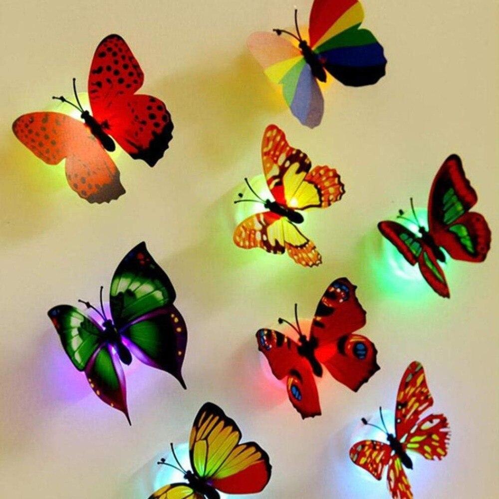 10 unids/set LED decoración de la mariposa 3D pegatinas de pared de resplandor en el oscuro pegatina pared Navidad luz de la mariposa para la habitación de los niños
