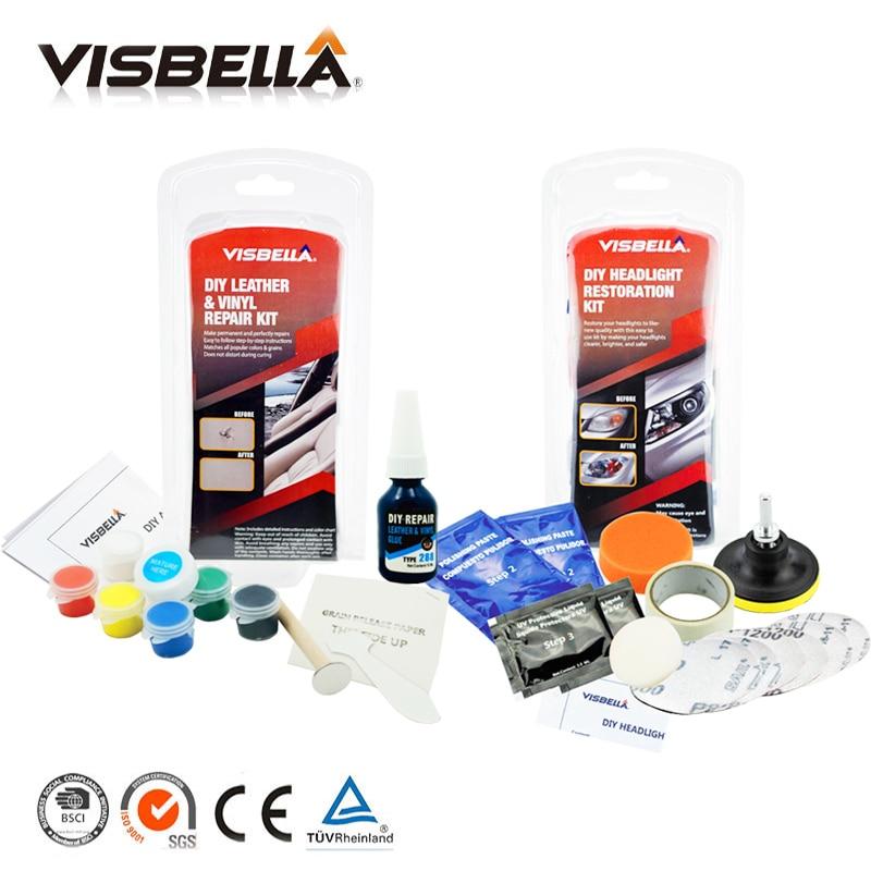 Visbella Liquid Leather Vinyl Repair Kit ar Seat Leather Repair Tool and Headlamp Restoration Kit Fix Oxidized Cloudy Headlight