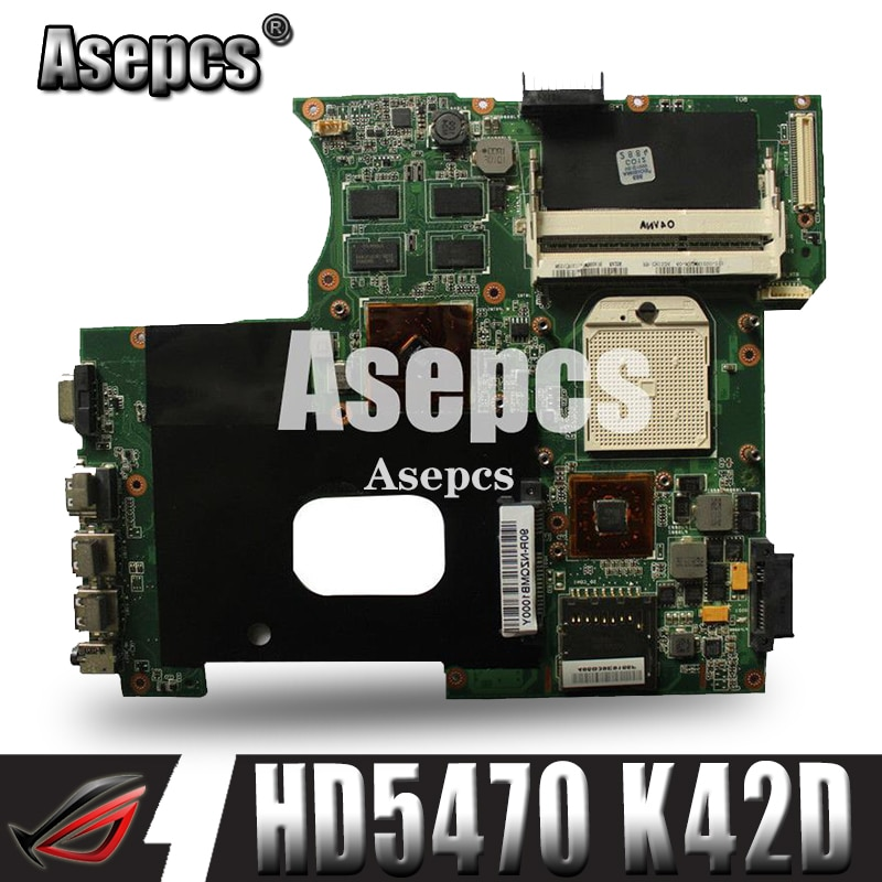 Asepcs para ASUS K42DY A42D X42D K42DR K42D K42DE Placa base con HD5470 tarjeta de Video