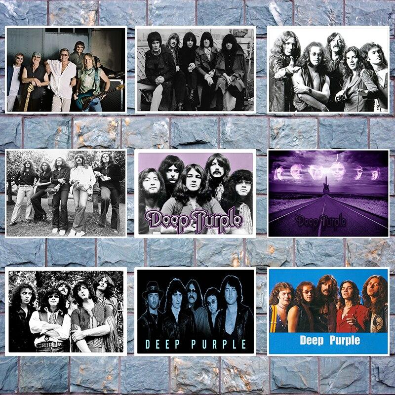 Темно-фиолетовый рок постер музыкальной группы четкое изображение наклейки на стену украшение дома хорошее качество печать белая крафт-бумага 42x30cm
