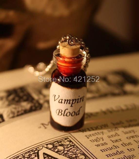 12pcs/lot Vampire Blood Necklace Vampire's Blood Glass Vial Pendant Charm   Pendant silver tone