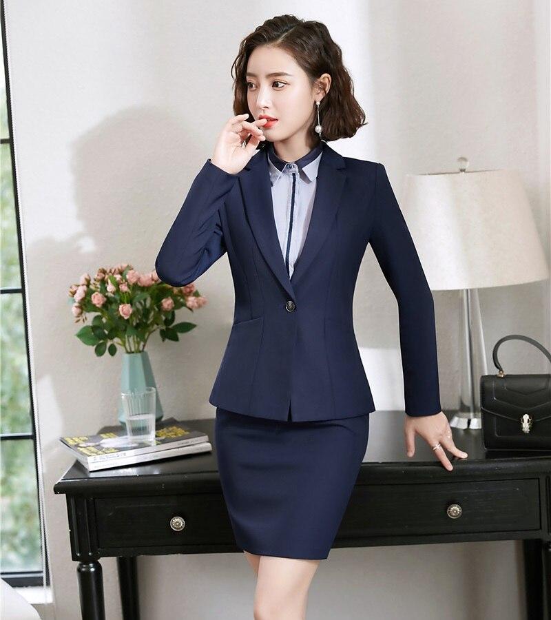 Chaqueta Formal azul marino para mujer trajes de negocios con conjuntos de falda y chaqueta Ropa de Trabajo Diseños de uniformes de oficina